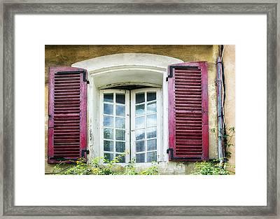 Red Shuttered Windows In France Framed Print
