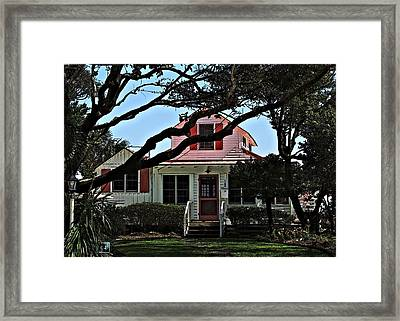 Framed Print featuring the photograph Red Shutters Cottage by Laura Ragland