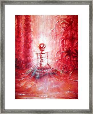 Red Skeleton Meditation Framed Print