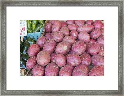 Red Skin Potatoes Stall Display Framed Print by Jit Lim