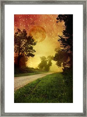 Red Sky Along Starry Pathway Framed Print by Christina Rollo