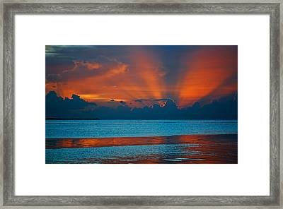 Tropical Florida Keys Red Sky At Night Framed Print