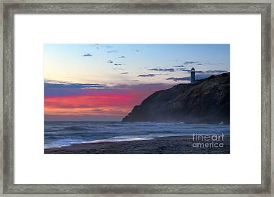 Red Sky At North Head Lighthouse Framed Print