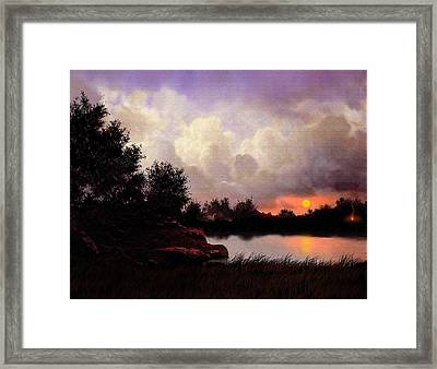 Red Sky Camp Framed Print by Robert Foster