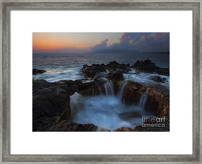 Red Sky Cauldron Framed Print by Mike  Dawson