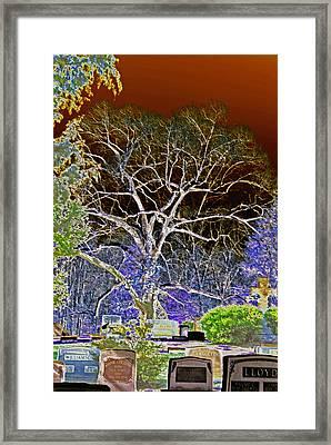 Red Sky Cemetary Framed Print by Leslie Cruz