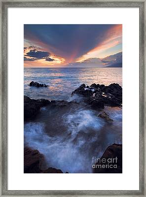Red Sky Over Lanai Framed Print by Mike  Dawson
