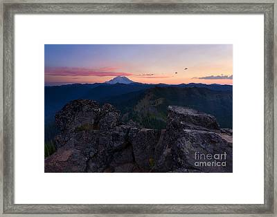 Red Sky Over Rainier Framed Print by Mike  Dawson