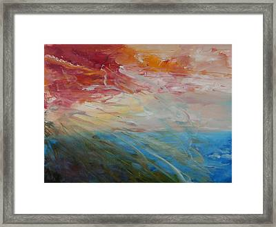 Framed Print featuring the painting Red Sky by Sandra Nardone