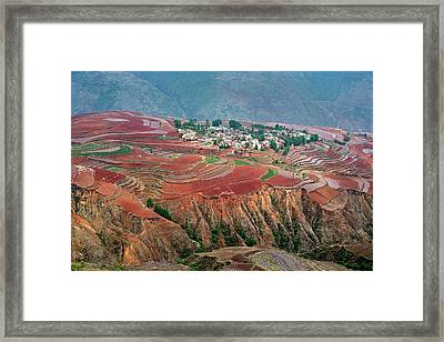 Red Soil Farmlands In Dongchuan District Framed Print by Tony Camacho