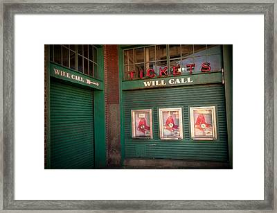 Red Sox Tickets Will Call Framed Print