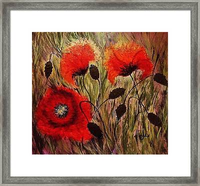 Framed Print featuring the painting Red Sparks... by Cristina Mihailescu