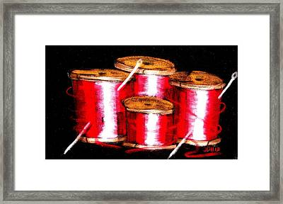 Framed Print featuring the drawing Red Spools 3 by Joseph Hawkins