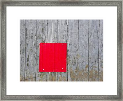 Red Square On A Wall Framed Print