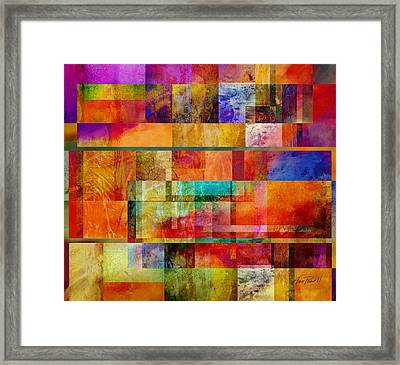 Red Squares Abstract Art Framed Print by Ann Powell