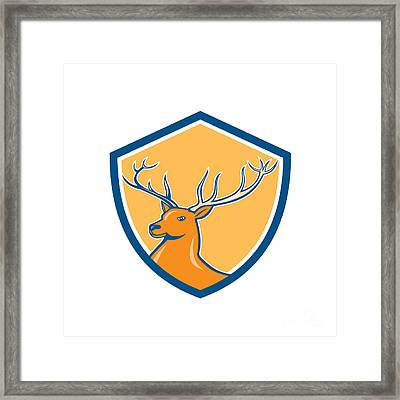 Red Stag Deer Head Shield Cartoon Framed Print by Aloysius Patrimonio