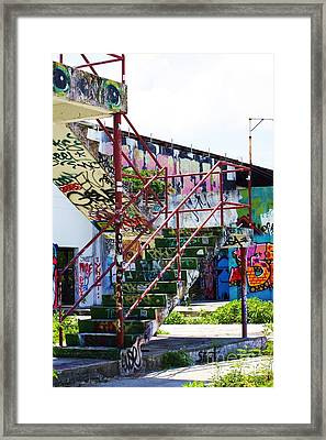 Red Stair Rails Framed Print by Chuck  Hicks