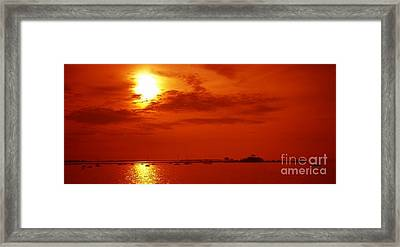 Red Star Above The Sea Framed Print by Jay Martin