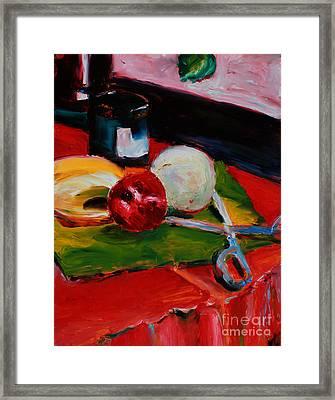 Red Still Life Framed Print by Janet Felts