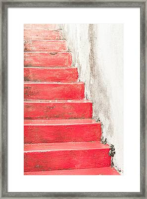 Red Stone Steps Framed Print by Tom Gowanlock
