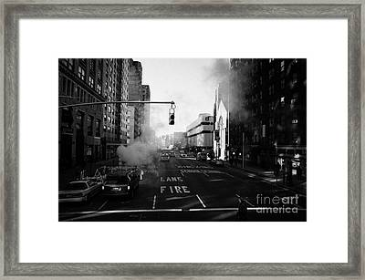 Red Stop Light Fire Lane Steam Pipe Venting 7th Avenue And 14th Street Greenwich Village New York Framed Print by Joe Fox