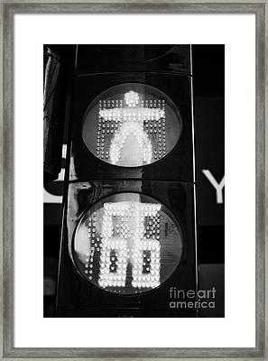 Red Stop Pedestrian Crossing Traffic Lights Countdown Clock Crossing Road In Andorra La Vella Andorr Framed Print by Joe Fox