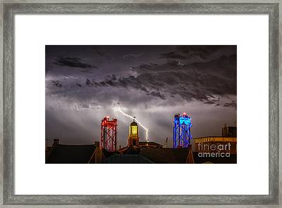 Red Strike And Blue Framed Print by Scott Thorp