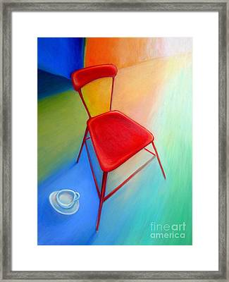 Red Studio Chair Framed Print by Frederick  Luff