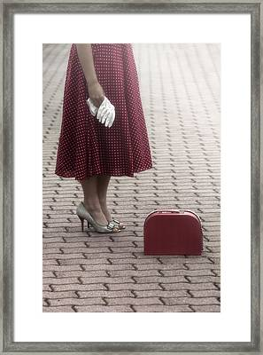 Red Suitcase Framed Print by Joana Kruse