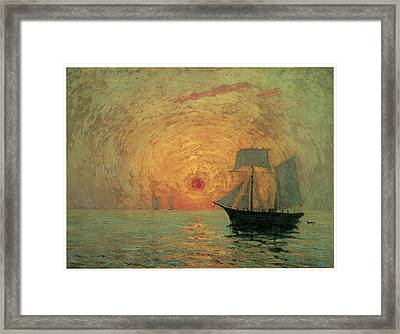 Red Sun Framed Print by Maxime Maufra