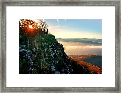 Red Sun Rays On The Lilienstein Framed Print