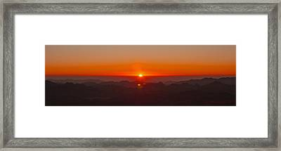 Framed Print featuring the pyrography Red Sunrise In Sinai Montains by Julis Simo
