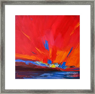 Red Sunset, Modern Abstract Art Framed Print