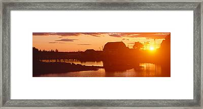 Red Sunset At Lobster Village Framed Print by Panoramic Images