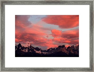 Red Sunset At Torres Del Paine Framed Print