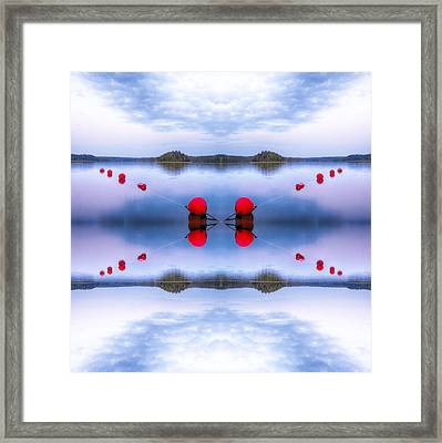 Red Sunset Buoys Parallels Framed Print
