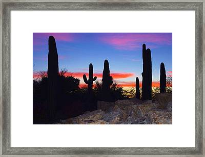 Framed Print featuring the photograph Red Sunset by David Rizzo