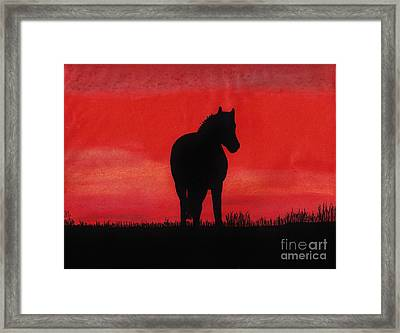 Red Sunset Horse Framed Print