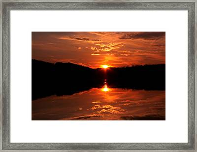 Red Sunset Framed Print by Jose Lopez