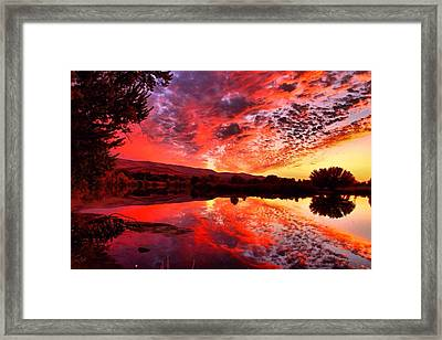 Red Sunset Framed Print by Lynn Hopwood