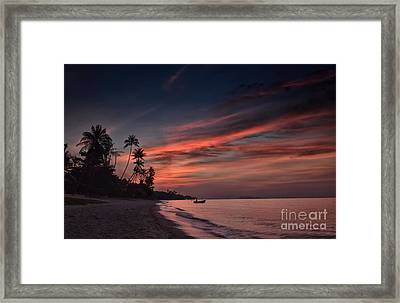 Red Sunset Framed Print by Michelle Meenawong