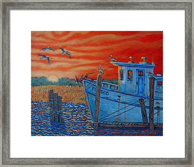 Red Sunset On Shem Creek Framed Print