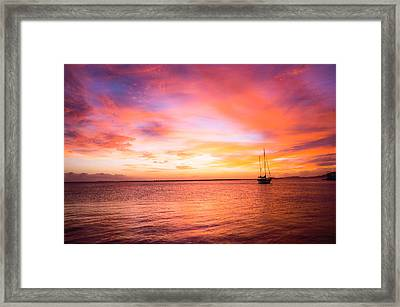 Red Sunset Over The Ocean Framed Print by Ellie Teramoto