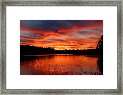 Red Sunset Reflections Framed Print