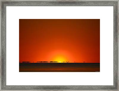 Red Sunset With Superior Mirage On Santa Rosa Sound Framed Print by Jeff at JSJ Photography