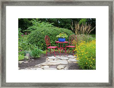 Red Table & Chairs With Blue Pot Framed Print