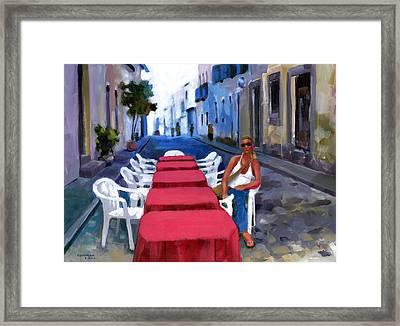 Red Tables In The Pelourinho Framed Print by Douglas Simonson