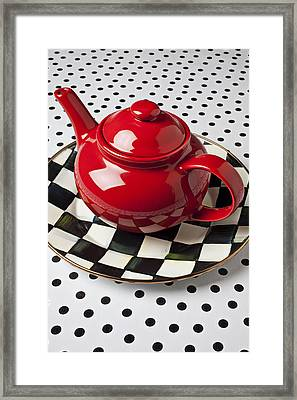 Red Teapot On Checkerboard Plate Framed Print