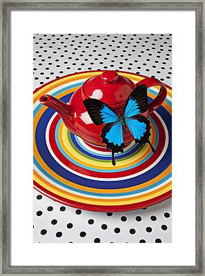 Red Teapot With Blue Butterfly Framed Print by Garry Gay