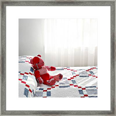 Red Teddy Bear Framed Print by Art Block Collections